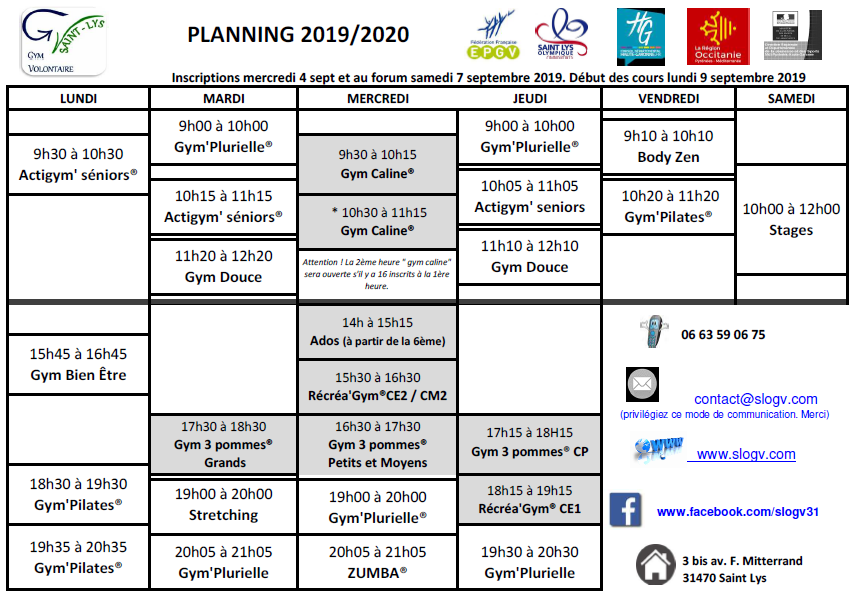 Planning horaire 2019 2020